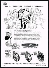 1950s Vintage 1957 Ingersoll Pocket Watch Half Hunter Radiolite Watches Print AD