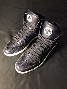 GUCCI BLUE METALLIC GG IMPRIME HIGH TOPS SIZE US 12 45 SNEAKERS SHOES AUTHENTIC