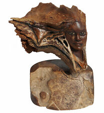 "Woman's Face Feminine Spirit Wood Sculpture ""Tri Star"" US Artist Rick Cain New"