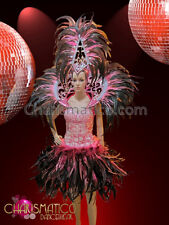 7f52a82b7653 CHARISMATICO Perfectly Paired Pink, White,Black Feathered Diva's Samba  Costume