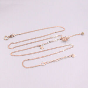 Au750 Real 18K Rose Gold Lucky Star Curb Chain Necklace 2.6-3g 17.5inch 1.1mmW