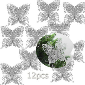 12pcs Glitter Butterfly SILVER Bowknot Christmas Tree Party Gifts Present Decor