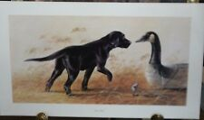 SILENT PARTNER BY LYNN R KAATZ S/N PRINT BLACK LAB DOG GOOSE DECOY