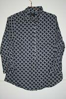 Lands' End Women's Office Navy Geometric 3/4 Sleeve Shirt Top Blouse Size 14