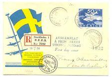 SWEDEN 1936  SPEC FLIGHT COVER - REG FDC    VF   @1