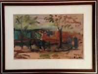 Belle huile sur papier de Sylvain VIGNY(1903-1970), Personnages dans le parc