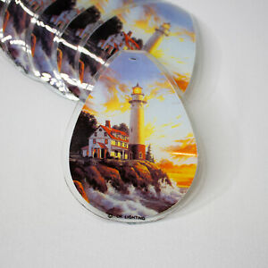 OK Lighting Replacement Glass Panels (6) Touch Lamp Lighthouse Themed Nautical