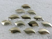 50 Hotfix Metall-Formen Bügelnieten Blatt Gold 4x8 mm Karostonebox z. aufbügeln