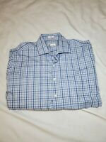 Peter Millar Mens Size Large Blue White red Plaid Long Sleeve Dress Shirt check