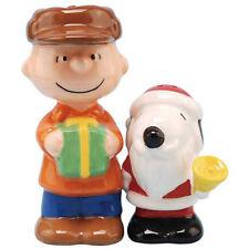 New PEANUTS SNOOPY Salt Pepper Shakers Set CHARLIE BROWN DOG Figurine CHRISTMAS