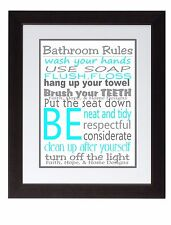 Gray Turquoise Bathroom Rules Wall Art Print poster, Family Rules