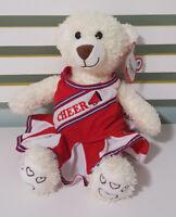 CHEERLEADER TEDDY BEAR STUFFLER PLUSH TOY! SOFT TOY ABOUT 36CM TALL WHITE!