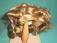 """doll wig light brown 9.5"""" to 10"""" short hair w. small curls/Vintage/1930s"""