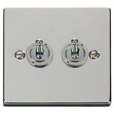 Click Deco 2 gang Double Toggle Light Switch Victorian Polished Chrome - VPCH422