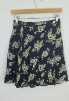Banana Republic Wrap Skirt size 4 Mini Floral Rayon Lined Navy Blue