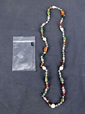 Handmade Natural Gem Stone Chip Necklace 32'' Green Quarts / Clear Quarts Lot-E