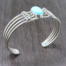 Sterling Silver Wire Bracelet Handcrafted Turquoise Stone set in