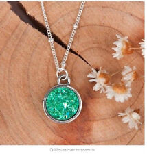 SPARKLING DRUZY RESIN CABOCHON GREEN PENDANT NECKLACE