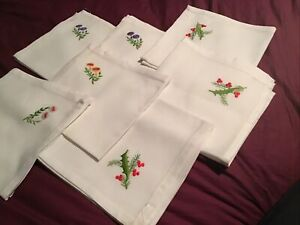Large Spanish Embroidered Christmas Table Cloth & Seven Napkins