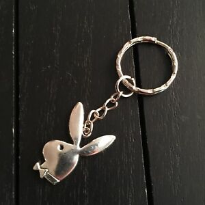 Antique Silver Playboy Bunny Keychain
