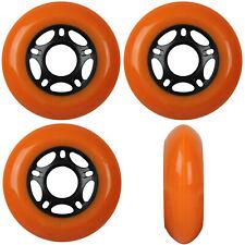Inline Skate Wheels 76mm 89A Outdoor Orange Rollerblade Hockey 4 Pack
