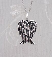 925 Sterling Silver Folded Angel Wing Pendant Heart Necklace Fashion Jewelry NEW