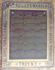 antique 1904 calendar board advertising Fuller & Warren stoves
