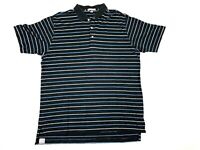Peter Millar Mens XL Polo Golf Shirt Short Sleeve Cotton Black Blue Striped