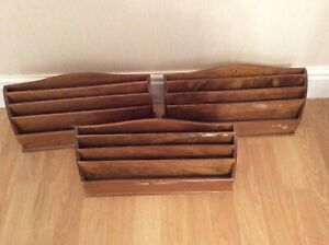 3 X VINTAGE WOODEN LETTER RACK DESK TIDY DOCUMENT HOLDER