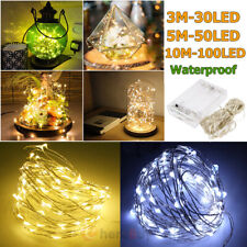 30/50/100 LED Battery Powered Copper Wire Outdoor String Fairy Light Party Decor