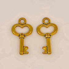 BULK Key Charms Antiqued Gold Key Charms Miniature Keys Skeleton Keys Wholesale