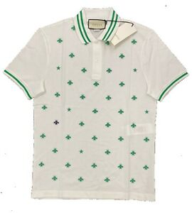 $900 Gucci White Cotton Bee Polo Shirt Size XXL, Made in Italy