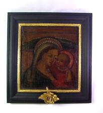 antikes Ölgemälde - Hl. MARIA mit Jesuskind - Madonna - 17. Jhd. - Sackleinwand