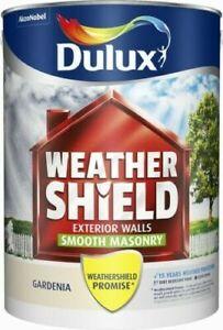 Dulux Weathershield Smooth Masonry Paint Gardenia 5L Enterior Exterior Concrete