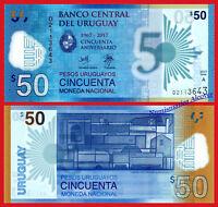URUGUAY 50 Pesos uruguayos 2017 (2018) Commemorative polymer Pick New SC / UNC