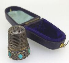 Antique THIMBLE Silver & Turquoise, European original box c1900s Sewing