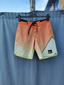 Quicksilver Orange Stretchy Boys Board Shorts Size 25 10 Yrs VGC