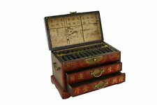 Vintage Chinese Wooden Bead Arithmetic Abacus W. Storage Case