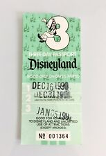 Vtg 1990 Disney Ephemera Disneyland 3 Day Passport Collectible Paper Ticket