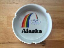 Vintage Ashtray Alaska The End Of The Rainbow Collectible White Ceramic Dish