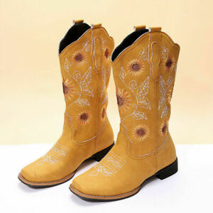 Womens Western Cowboy Booties Retro Embroidery Mid Calf Boots Fashion Party Shoe