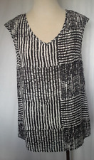 Ladies Cap Sleeve Blouse Shirt Top Crossover Back Black & White Emerson Size 8