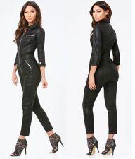 NWT bebe top black silver zipper front denim satin romper jumpsuit L Large 30