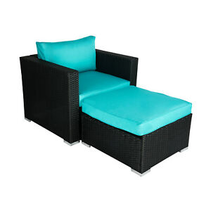 Outdoor Patio Sofa Set PE Rattan Wicker Sectional Furniture Cushioned w/Ottoman