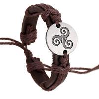 Bracelet Cuir Marron avec corde Triskèle Pour Homme Femme Ado Triskell Vintage