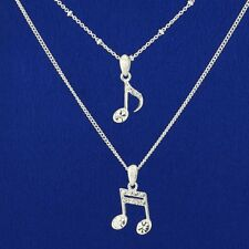 Music Notes Necklace Made With Swarovski Crystal Double Chain Note Pendant