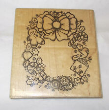D.O.T.S. Sugarplum Wreath rubber stamp Christmas holidays bow candy cane mounted