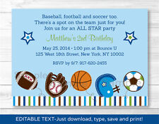 Sports Football Baseball Soccer Printable Birthday Invitation Editable PDF