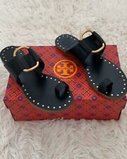 NIB TORY BURCH Ravello Toe Ring Studded Leather Flat Sandal Sz 8 In Black