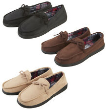 Men's Faux Suede Memory Foam Scottish Tartan Mocassin Slippers Sizes 7-12 New